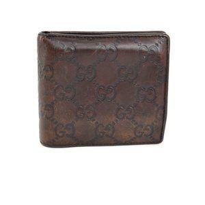 "GUCCI: Dark Brown, Leather ""GG"" Logo Wallet (po)"